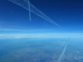 Flying between contrails, SoCal