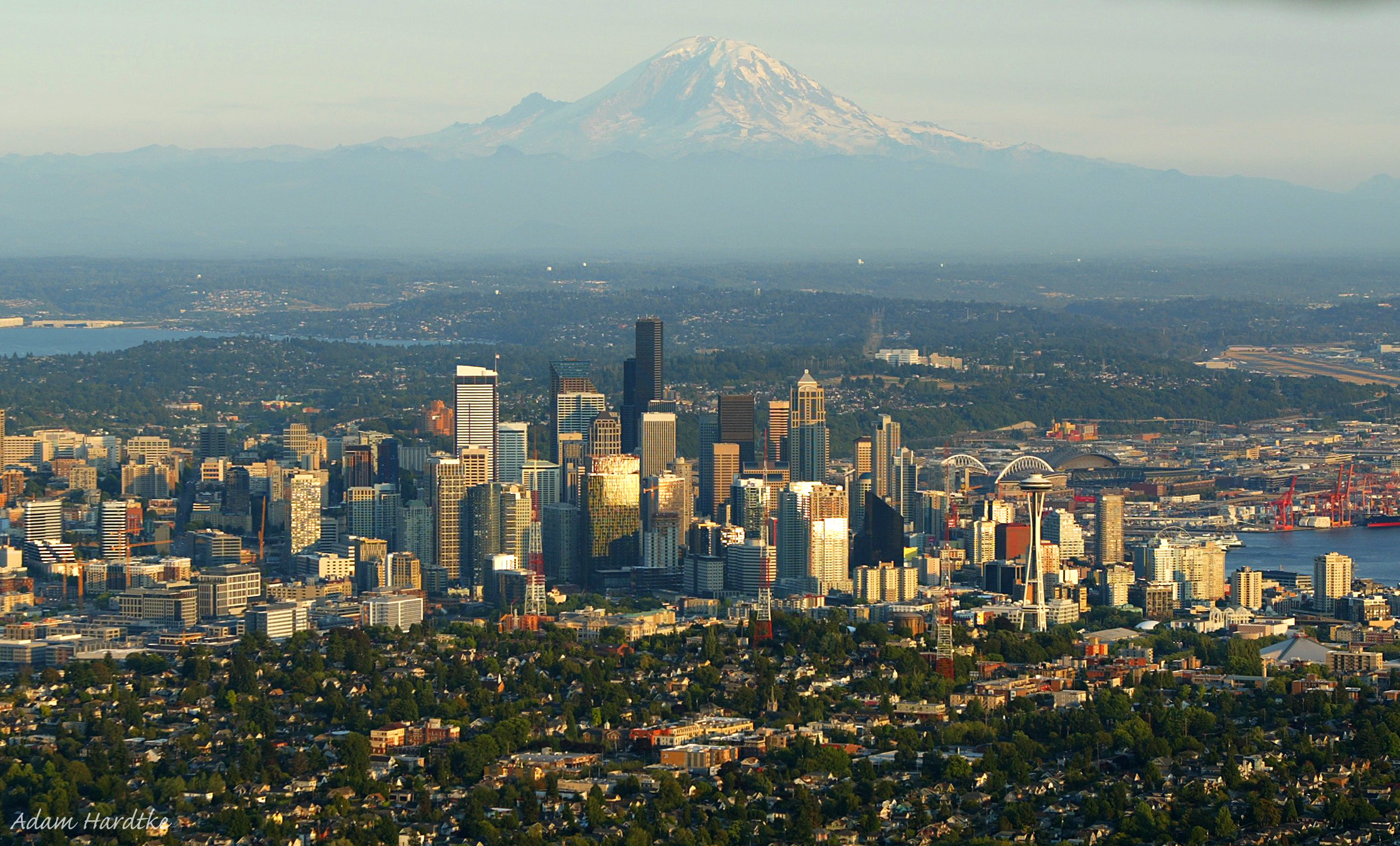 Downtown Seattle during the magic hour with Mt. Rainier looming in the distance